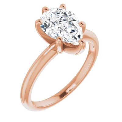 Pompeii3 2Ct Pear Moissanite Solitaire Engagement Ring 14k White Yellow or Rose Gold