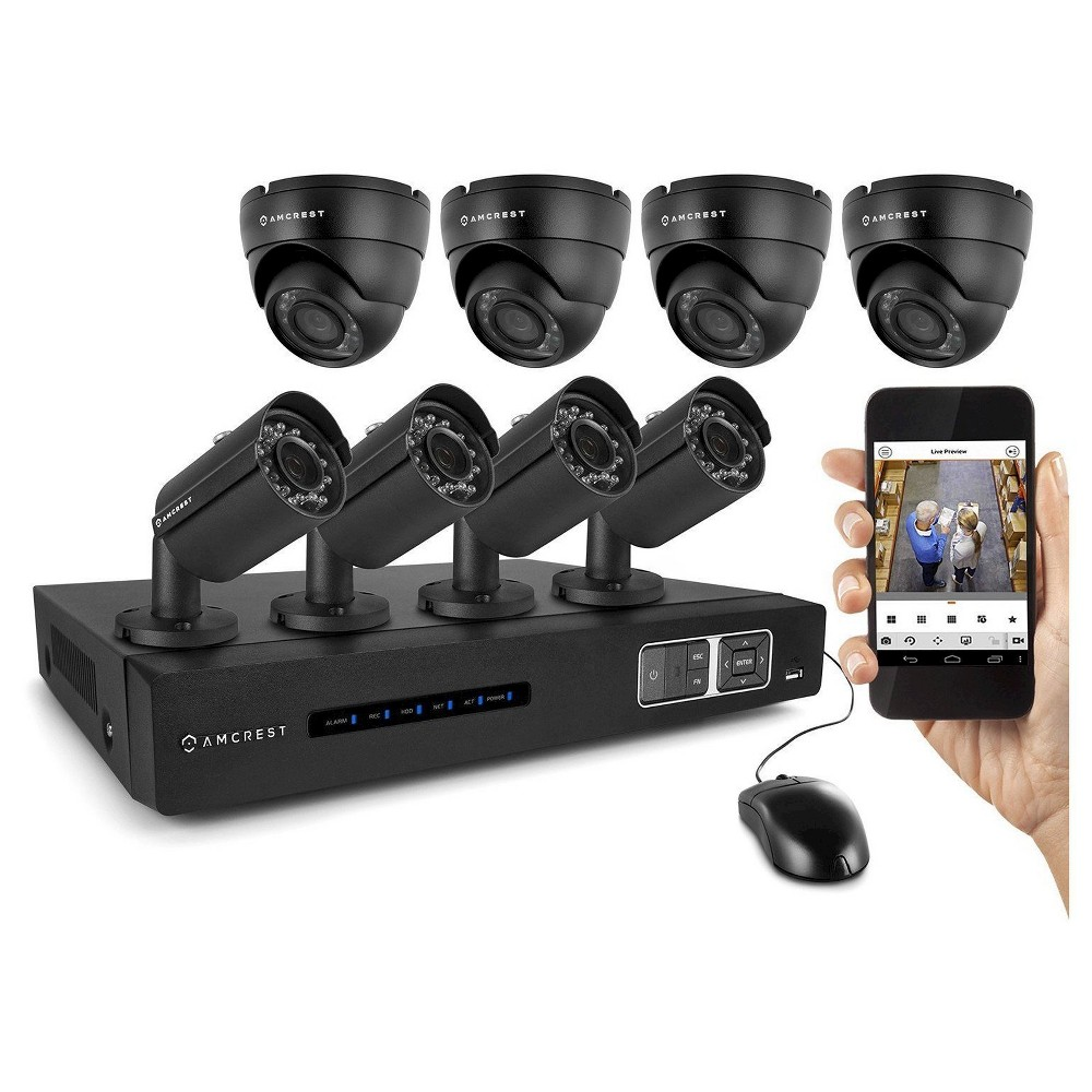 Amcrest 720P Tribrid Hdcvi 8CH 2TB Dvr Security Camera System with 4 x 1MP Bullet Cameras and 4 x 1MP Dome Cameras - Black (AMDV7208M-4B4D-B) Includes 8 x HD 1MP cameras capable of generating crystal clear 1280 x 720 pixels (1 Megapixel) video. Pre-installed 3 TB hard-drive records continuously for 15 days (360 hours in 720p @ 30fps) or much longer using motion detection or scheduled recording. IP66 rated weather resistant cameras for both indoor and outdoor use. 1,640ft (500m) point-to-point transmission distance from camera to Dvr. Includes 4 x 60ft and 4 x 100ft Siamese cables. Remote view via the  Amcrest View  app found on the Apple Store or Google Play Store. Remote view on standard browsers via PC and Mac. Amcrest Hdcvi technology transmits HD video over coaxial at a rate of 720p @ 30fps, allowing for long-distance and cost-effective HD video transmission up to 1,640ft (500m). The signal is transmitted uncompressed which eliminates latency and allows for real-time, highly reliable video security without loss or delay. The cameras connect point-to-point directly to the Dvr providing a highly secure closed network as well as a painless and non-complex plug-and-play setup process. In addition, system is smartphone compatible (iPhone, Android) as well as viewable over the internet using standard web-browsers on PC and Mac. This is a tribrid system which is backwards compatible with 960H and traditional analog cameras as well as IP cameras.