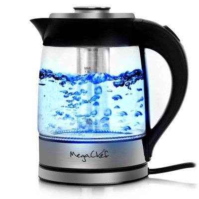 MegaChef 1.8L Electric Cordless Tea Kettle with Tea Infuser