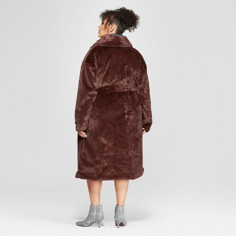 ccc701b6d2f Women s Plus Size Faux Mink Robe Coat - Who What Wear™ Brown   Target