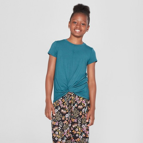 Girls' Tie Front Knit T-Shirt - art class™ Teal - image 1 of 3