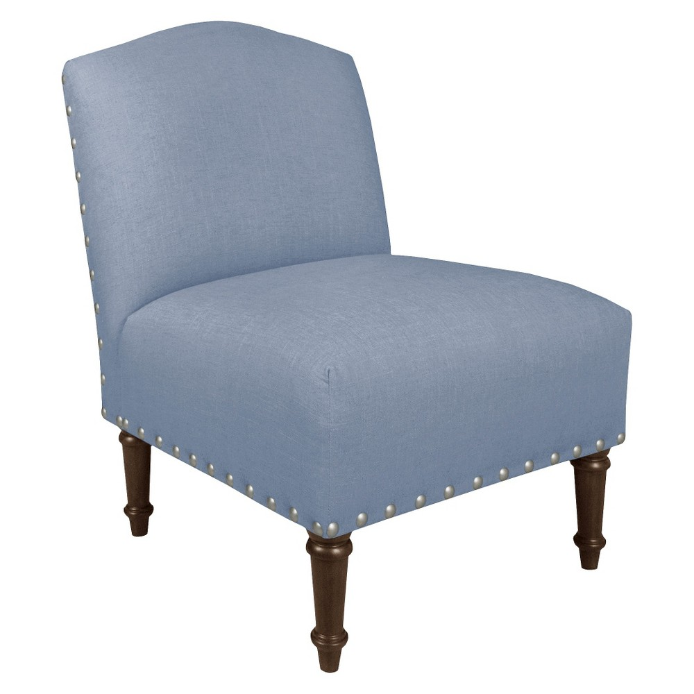 Nail Button Camel Back Chair - Skyline Furniture, Linen Denim