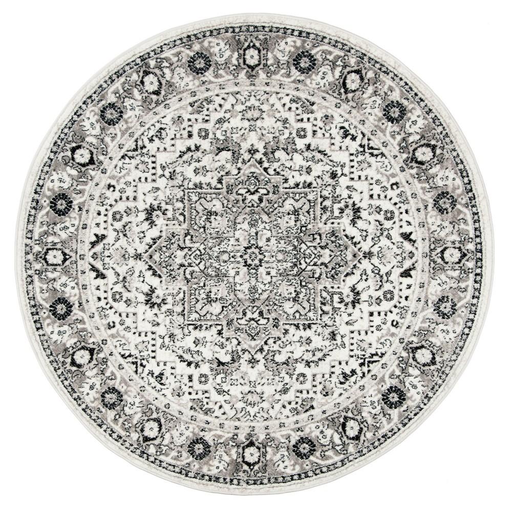 Gray/Ivory Medallion Loomed Round Area Rug 6'7 - Safavieh