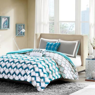 Teal/White Luna Comforter Set Full/Queen 5pc