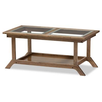 Cayla Mid - Century Modern Living Room Glass - Top Coffee Table - Walnut Brown - Baxton Studio