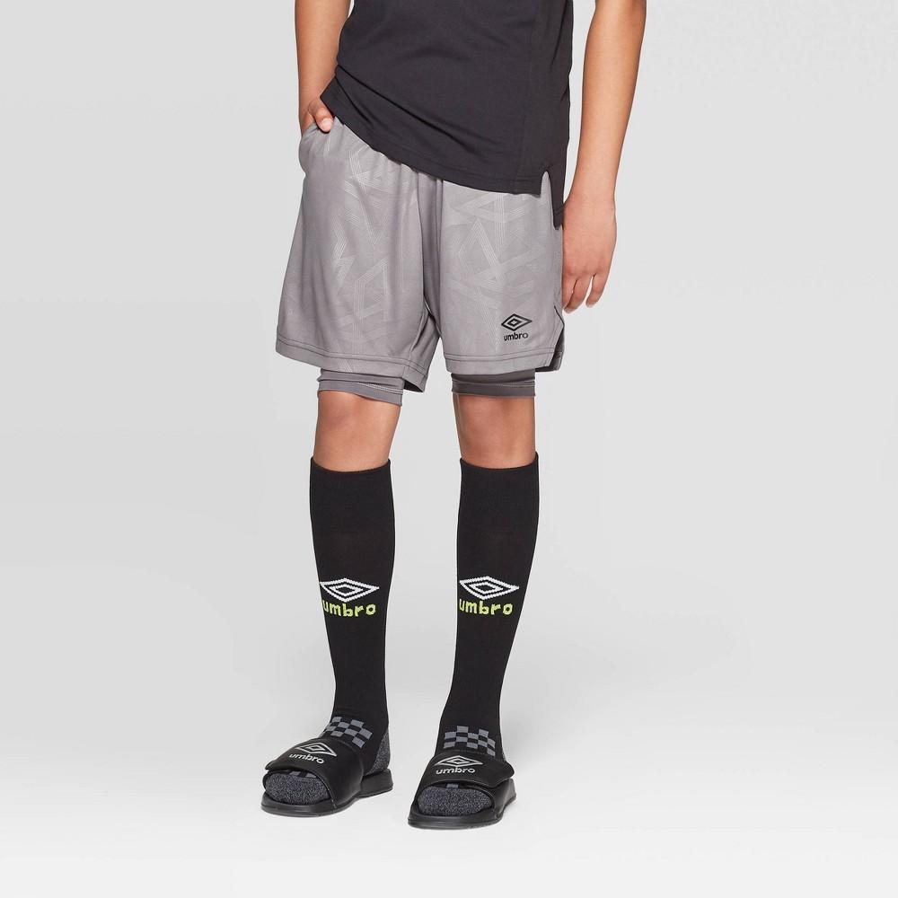 b7ab7fd68 Umbro Boys Knit 2 in 1 Shorts Industrial Grey L