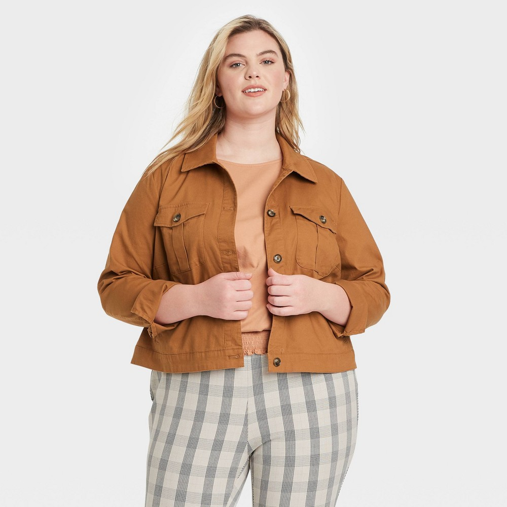 Women 39 S Plus Size Utility Blazer Jacket Ava 38 Viv 8482 Brass X