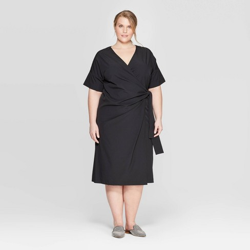 Women's Plus Size Short Sleeve V-Neck Wrapped Dress - Prologue™ Black - image 1 of 3