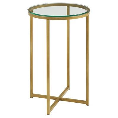 "16"" X Base Glam Round Side Table Dark Gold/Glass - Saracina Home"