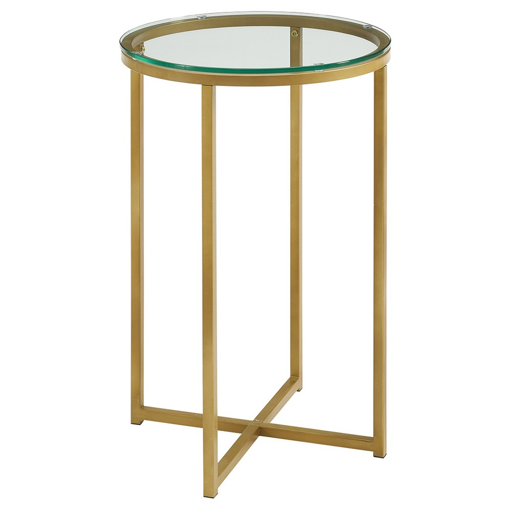 """Image of """"16"""""""" Round Side Table - Gold/Glass - Saracina Home"""""""