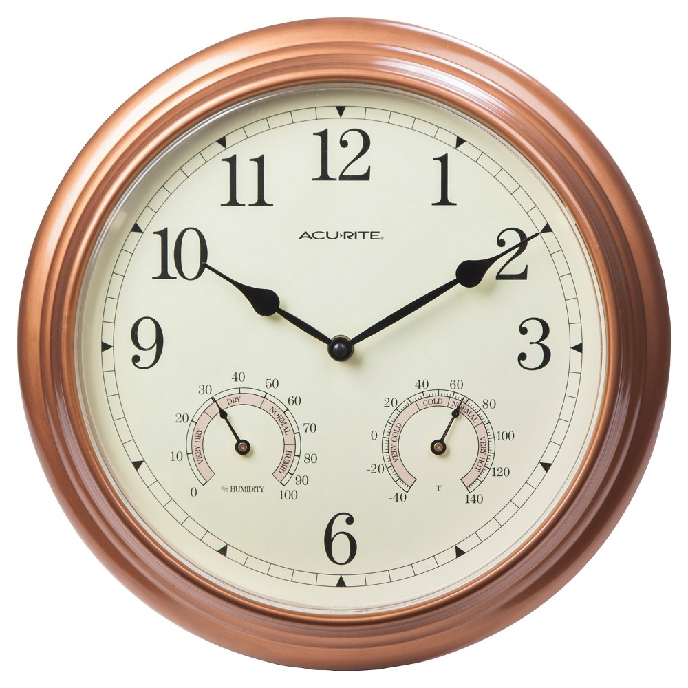 Image of 13.5 Metal Outdoor / Indoor Wall Clock with Thermometer and Humidity - Copper (Brown) - Acurite