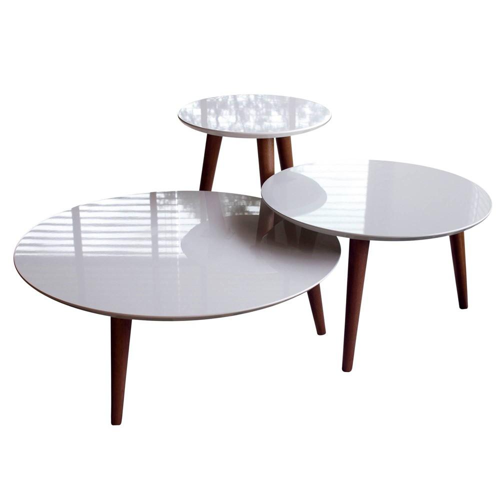3pc Modern Moore Round End Table Off-White (Beige) - Manhattan Comfort
