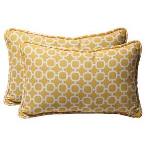 Outdoor 2 Pc Lumbar Toss Pillow Set - Yellow/White Geometric - Pillow Perfect, Yellow White