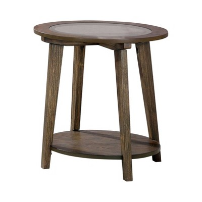Nicolina Open Shelf End Table Dark Oak - miBasics