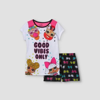 Girls' L.O.L. Surprise! 'Good Vibes Only' 2pc Pajama Set - White/Black
