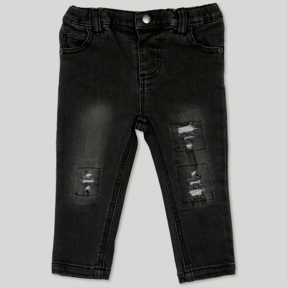 Afton Street Baby Boys' Distressed Jeans - Black 0-3M