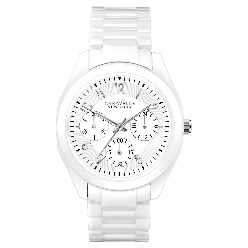Caravelle New York by Bulova Women's Chronograph White Ceramic Bracelet Watch - 45L145, Size: Ladies