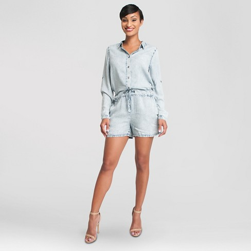 Women's Acid Wash Romper Light Blue XS - Poetic Justice - image 1 of 3