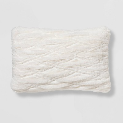 Oblong Ruched Faux Fur Throw Pillow Cream - Threshold™
