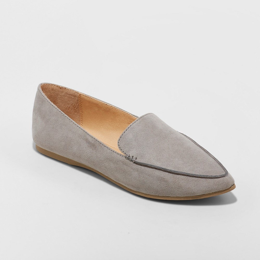 Women's Micah Wide Width Pointy Toe Loafers - A New Day Gray 10W, Size: 10 Wide