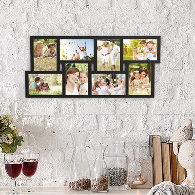 Collage Picture Frame with 8 Openings for 4x6 Photos- Wall Hanging Multiple Photo Frame Display for Personalized Decor by Hastings Home (Black)