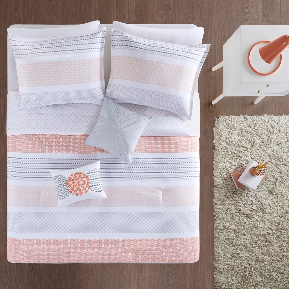 5pc Full/Queen Reed Printed Reversible Comforter Set Coral, Pink