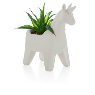Unicorn Planter With Faux Plant  - White - Shiraleah