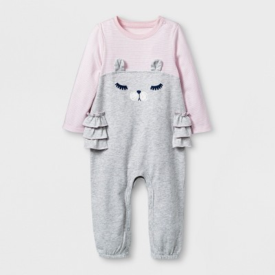Baby Girls' Romper - Cat & Jack™ Heather Gray 0-3M
