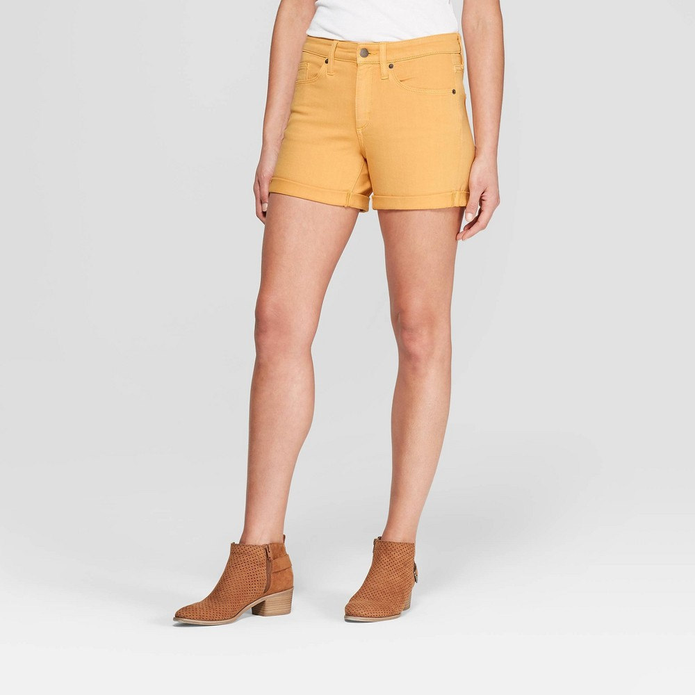 Women's High-Rise Double Cuff Jean Shorts - Universal Thread Yellow 14