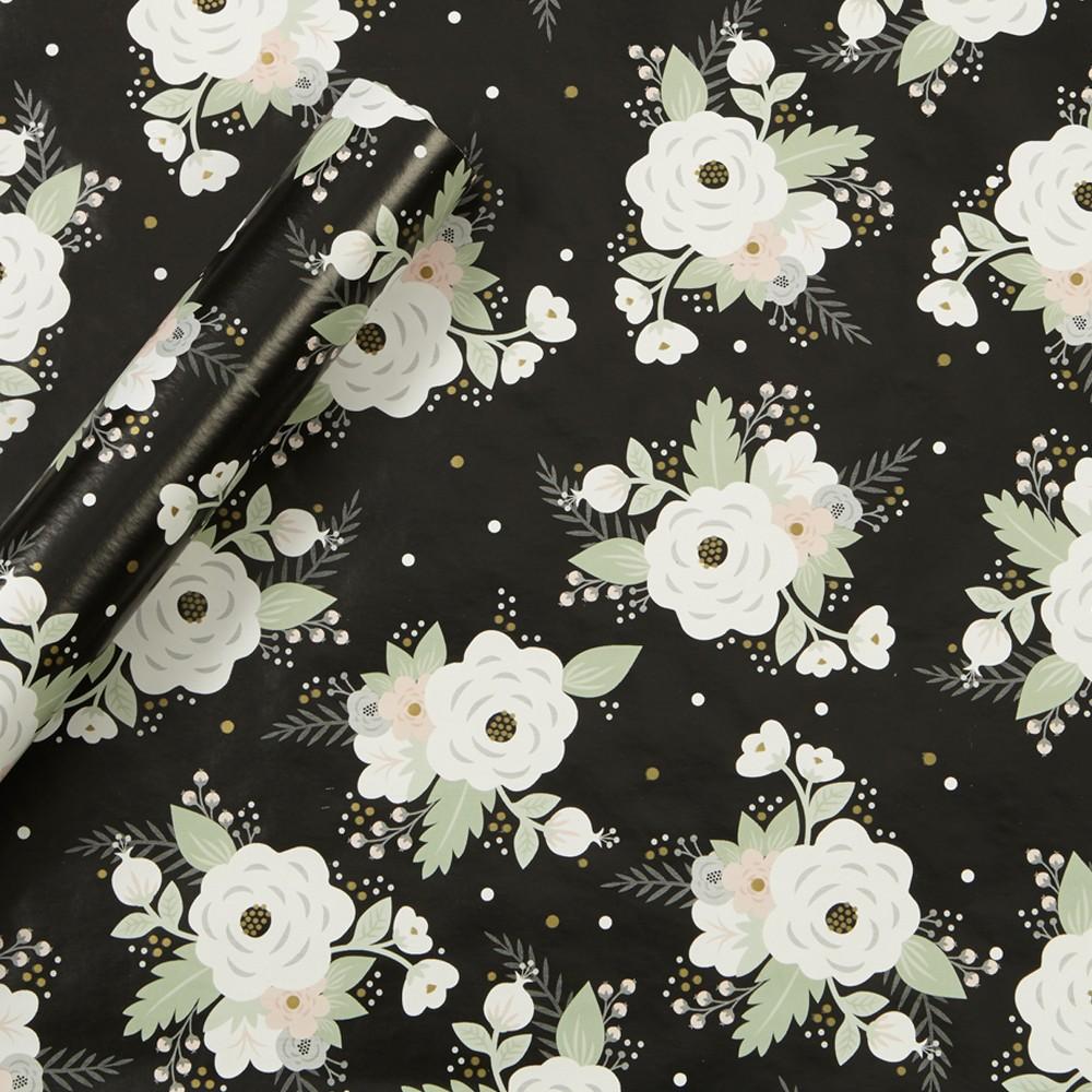 Floral Gift Wrap Foil Black - Spritz