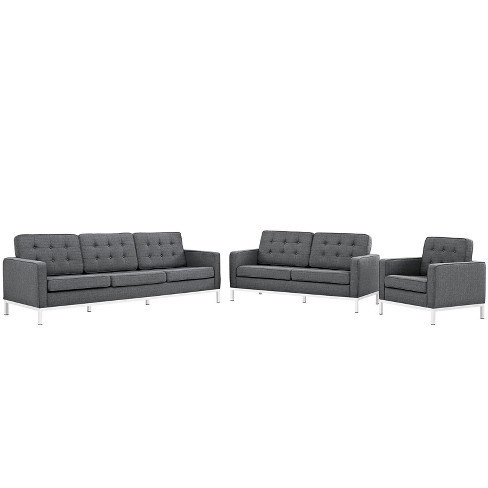 Peachy Set Of 3 Sofa Love Seat Accent Chair Loft Living Room Set Upholstered Fabric Gray Modway Ibusinesslaw Wood Chair Design Ideas Ibusinesslaworg