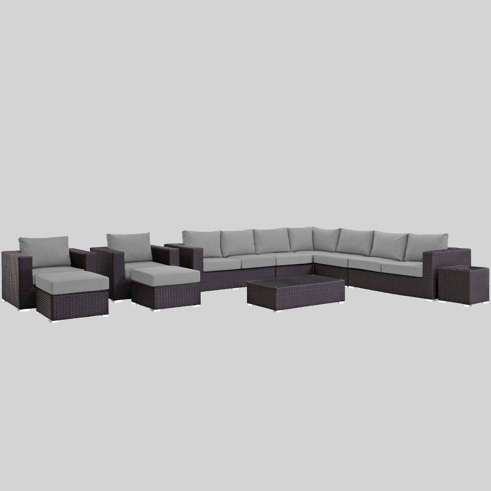 Sojourn 11pc Outdoor Patio Sectional Set with Sunbrella Fabric - Gray - Modway