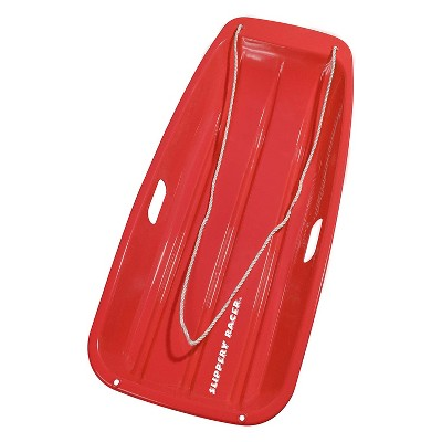 Slippery Racer Downhill Sprinter Flexible Kids Toddler Plastic Toboggan Snow Sled with Pull Rope, Red