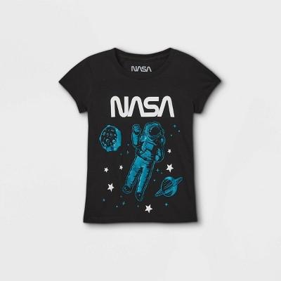 Girls' NASA Short Sleeve Graphic T-Shirt - Black