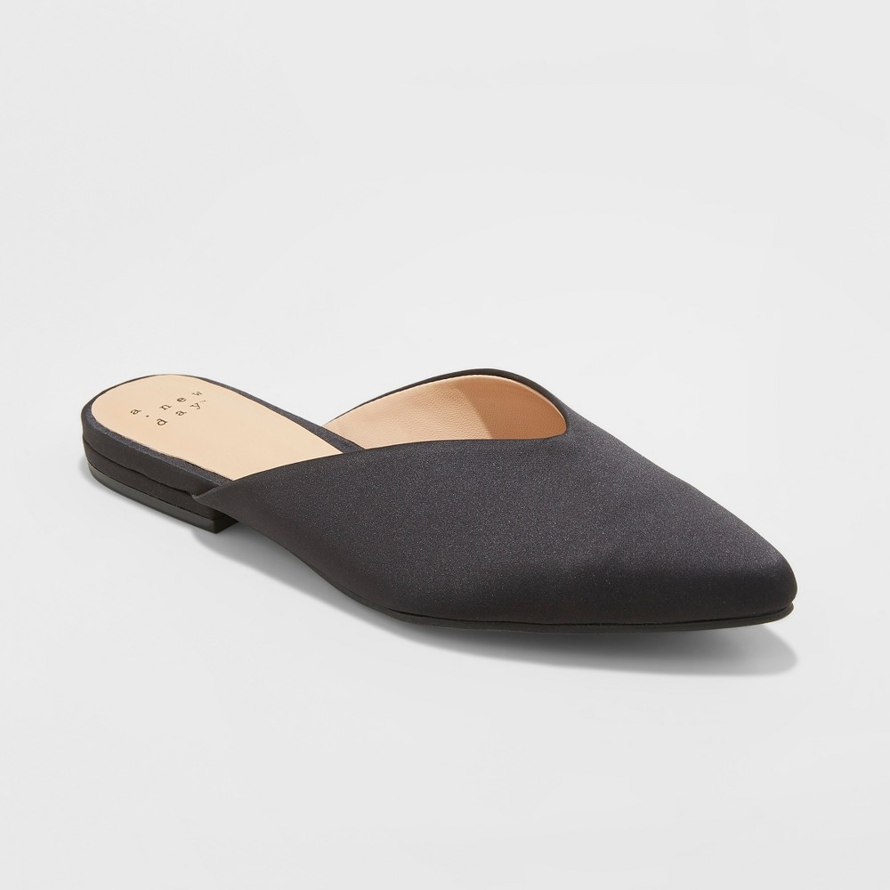 Women's Lan Faux Satin V Throat Backless Mules - A New Day Black 7.5