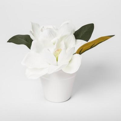 7.5  x 5  Artificial Magnolia Arrangement In Pot Green/White - Threshold™