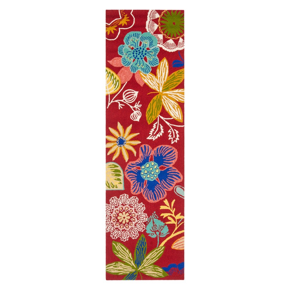 2'2X8' Floral Runner Red - Safavieh, Red/Multi-Colored