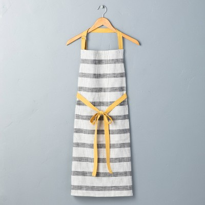 Adult Bold Stripes Cooking Apron Railroad Gray/Yellow - Hearth & Hand™ with Magnolia