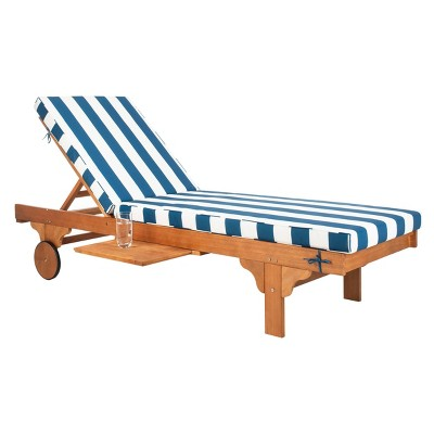 Newport Chaise Lounge Chair With Side Table - Natural/Navy/White - Safavieh
