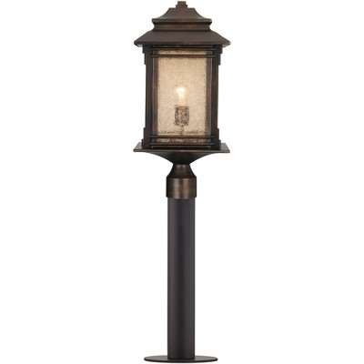 """Franklin Iron Works Mission Outdoor Post Light Fixture LED Walnut Bronze 37 1/2"""" Frosted Cream Glass Exterior Garden Yard Driveway"""