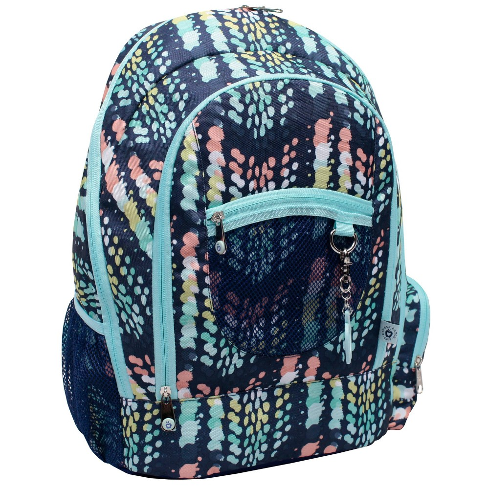 """Image of """"Double Dutch Club 18"""""""" Chevron Print Backpack - Navy, Size: Large, Blue"""""""