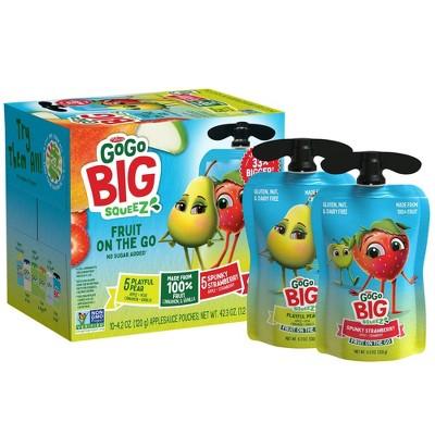 GoGo SqueeZ Big Variety Pack Apple Straw Pear Cinna Van - 42.3oz/10ct