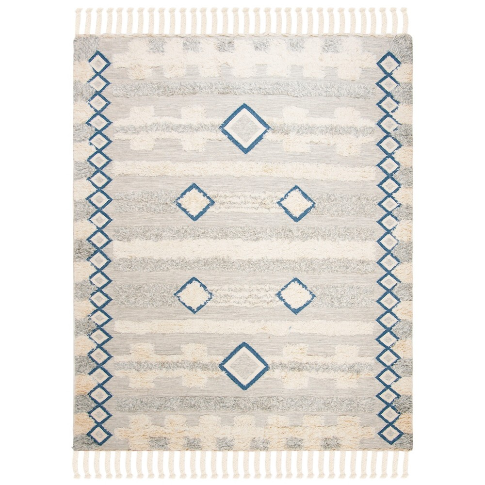 8'X10' Tribal Design Knotted Area Rug Gray/Ivory - Safavieh