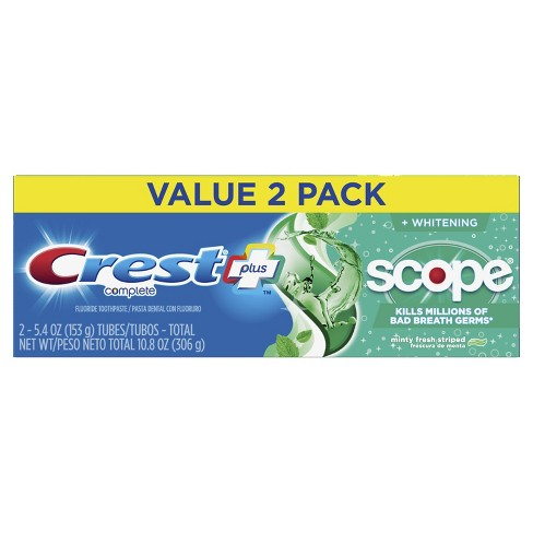 Crest + Scope Complete Whitening Toothpaste Minty Fresh - 5.4oz - Pack of 2 - image 1 of 3