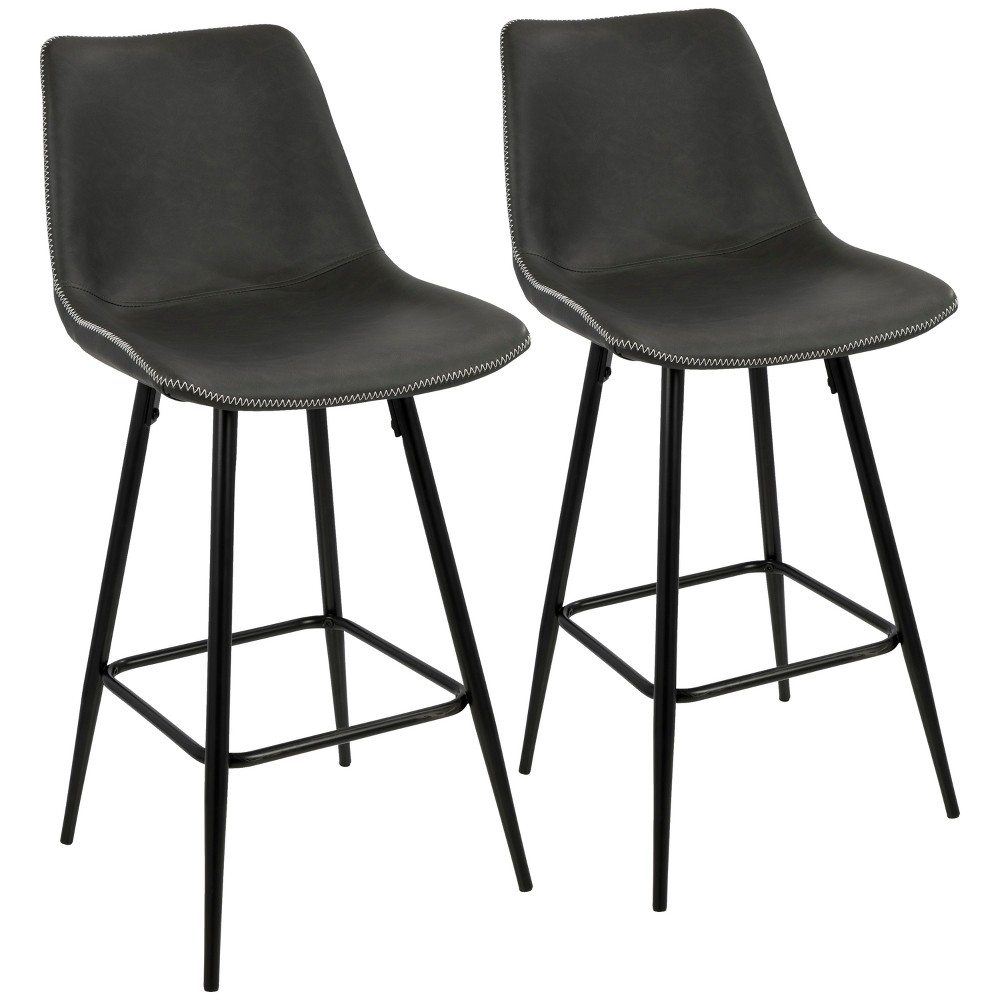 Set of 2 Durango Contemporary Counter Stool Black/Gray - LumiSource
