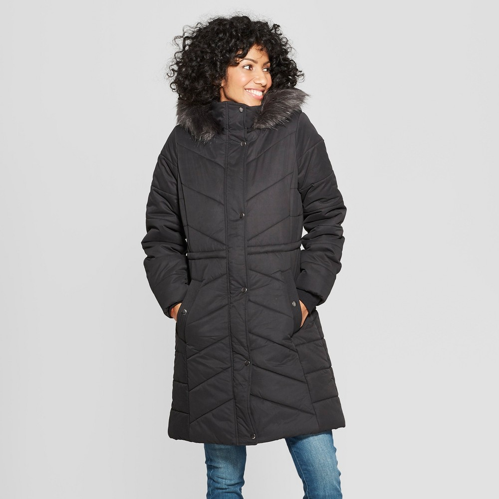 Women's Long Quilted Puffer Jacket - A New Day Black S