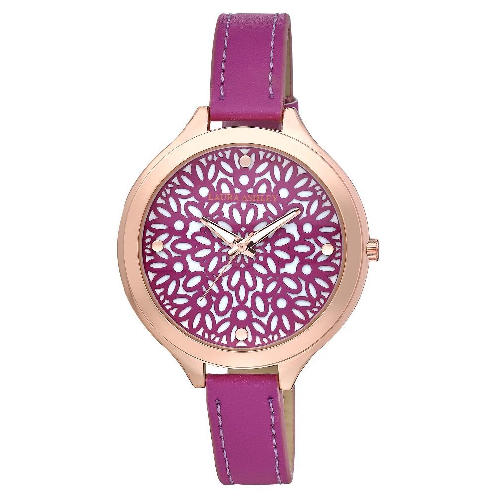 Laura Ashley Slim Band Geo Pattern Dial Watch - Pink/ Rose Gold, Girl's, Pink/Rose Gold