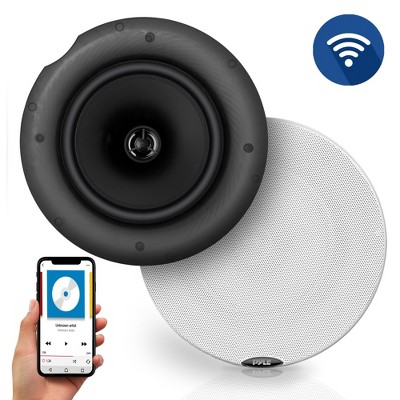 Pyle Audio 6.5 Inch 2 Way 300W Home Garage Flush Ceiling/Wall Mount Bluetooth Speaker Sound System, Pair