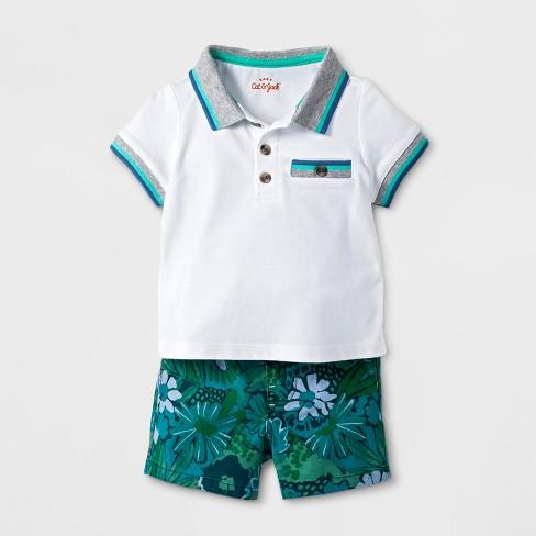 44495b348 Baby Boys' 2pc Short Sleeve Polo Shirt And Trouser Short Set - Cat & Jack™  White : Target