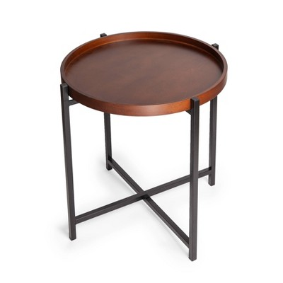 Mid-Century Modern Round Side Table with Removable Wood Tray Brown - Danya B.